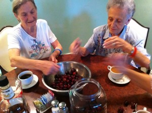 Ann and Nitsie making cherry bounce